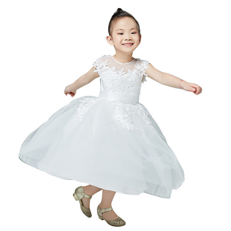 Girl Flower Dress Flower Petals Bow Bridal Dress  Pageant Ball Gown Kids Short Sleeves  Birthday Party Dresses for Girls