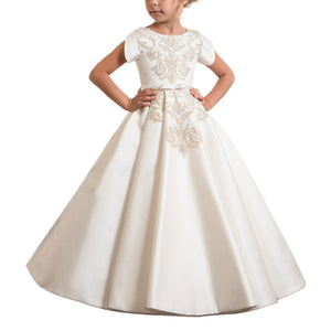 Flower Girl Dress Fancy Ivory  Lace with Belt First Communion Flower Girls Lace Dresses Long Ball Gown For 2-12 Year Old