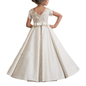 Flower Girl Dress Fancy Ivory  Lace with Belt Flower Girls Lace Dresses Long Ball Gown For 2-12 Year Old