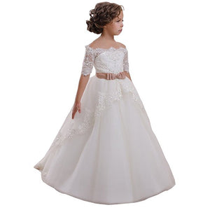 Little Big Girls Flower Lace Applique Dress Pageant Communion Evening Tulle Dress Princess Prom Ball Gowns Party For 2-12 Year Old