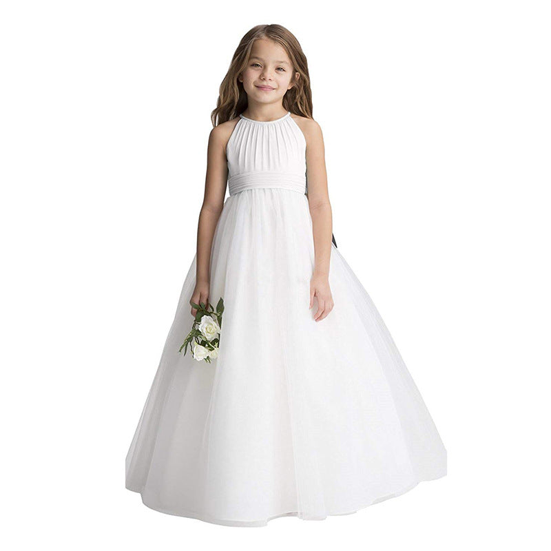 Girls Flower Dresses Lace Pageant Party Floor Length Formal Dance Evening Gowns For  2-12 Year old