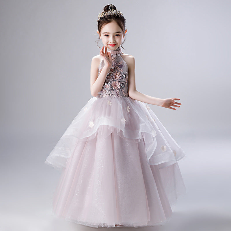 Flower Girl Dresses Lace Sleeveless Tulle Girl Dresses Floor Length Party Ball Gown For 2-12 Year Old