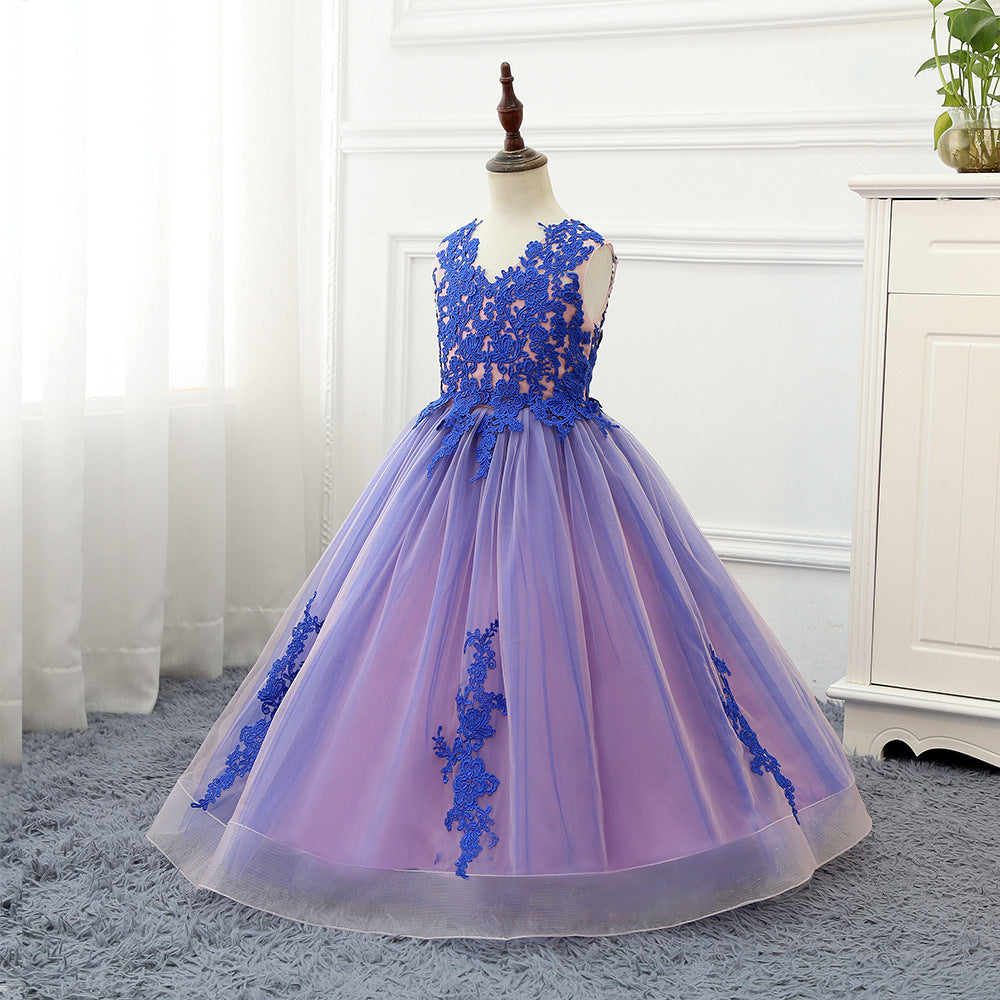 Girl Flower Dress Luxury Ball Gown Lace up Flower Floor-Length First Communion Girl Prom Ball Gowns  Dress up 2-13 Years