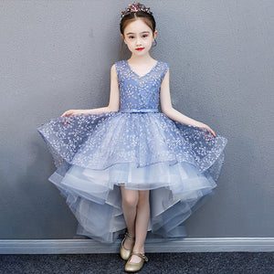 Flower Dress Girls V-neck Multi-Large SkirtOrganza Sequin Pearls for Party Ball Gown