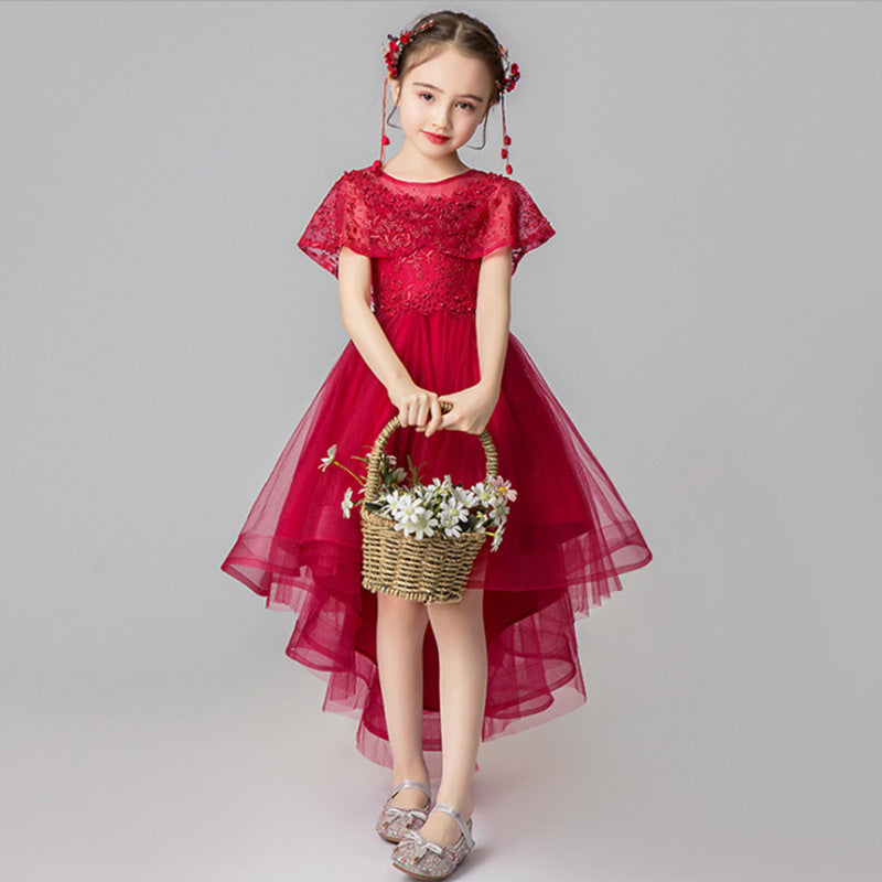 Flower Girl Dresses Luxury Burgundy Ball Gown Pageant Dresses for Girls Party Short Sleeves Kids Trailing Gowns  For 2-12 Year Old