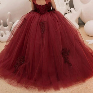 Girls Flower dresses Vintage Floral Lace Sleeveless  Floor Length Dress Party Evening Formal Pegeant Dance Gown for Girls 2-12 Year Old