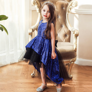 Flower Dress Kids Girls Clothing Birthday Party Lace Scoop Neck Asymmetrical  Prom Girls Dress