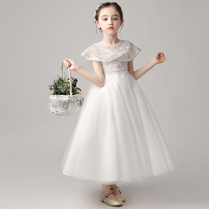 Flower Girl Dresses Luxury Burgundy Ball Gown Pageant Dresses for Girls Christmas Party Short Sleeves Kids Trailing Gowns  For 2-12 Year Old