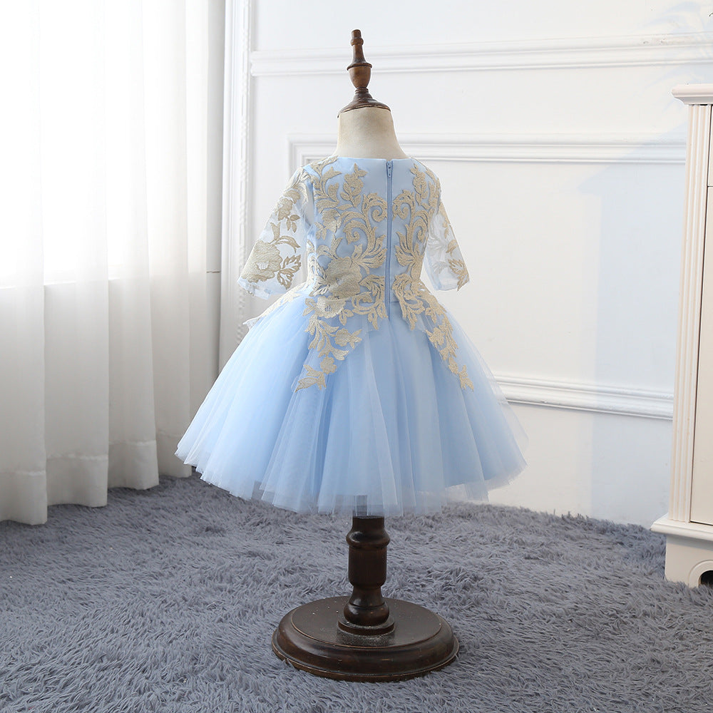 Flower Girl Dress Lace Girls Wedding Dress Embroidered Flower Princess Fancy Lace Light Blue Tulle Pageant Ball Gowns  For 2-12 Year Old