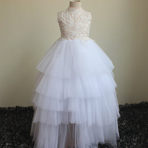 Flower Girls Dresses Pageant Party Princess Communion Floral Boho Vintage Lace Dance Gown 2-12 Year Old