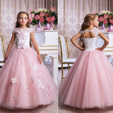 Flower Little Girl Dresses Short-Sleeved  Embroidery Princess Pageant Dresses Kids Prom Ball Gown For 2-12 Year Old