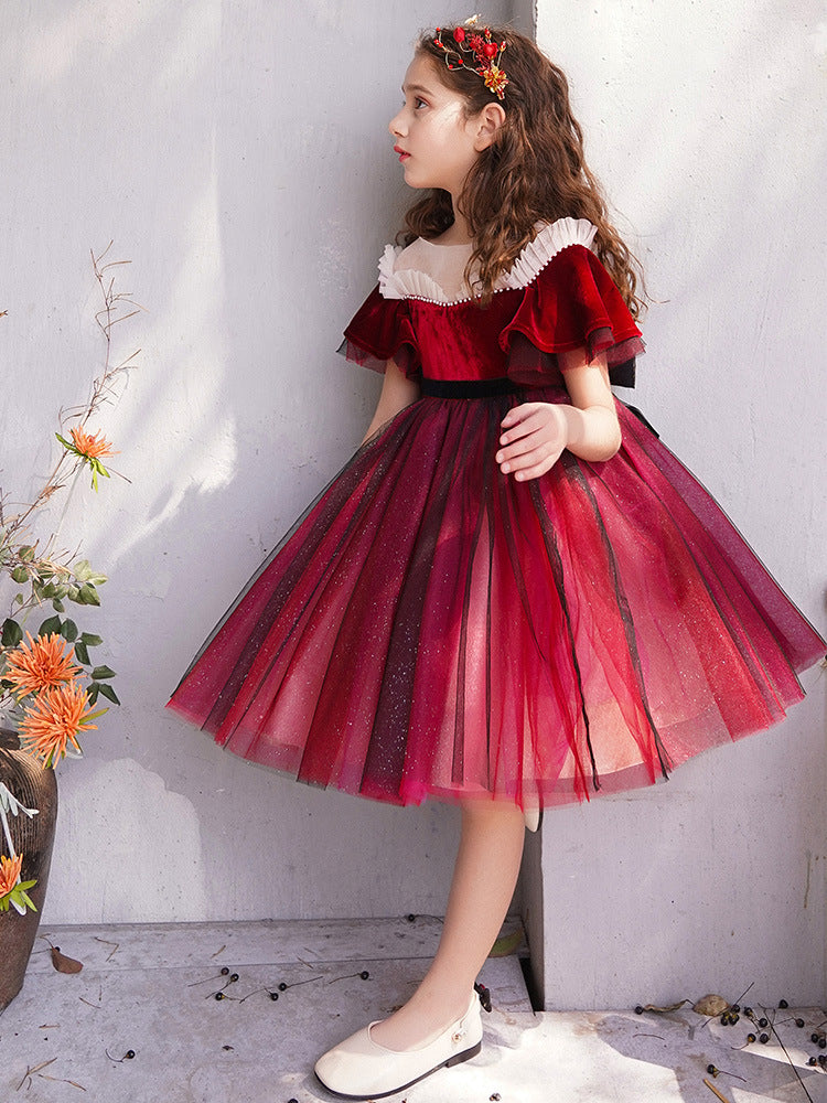Red Flower Girl Formal Dress for Girls Dress for girls Pageant Tulle kids Pageant Dress Birthday Girls Party Gowns