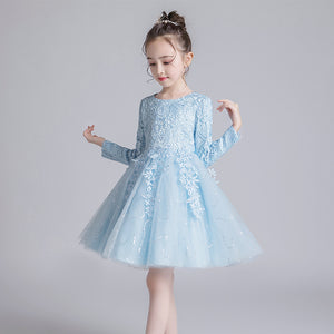 Flower Girl Dress for Kids Lace Pageant Ball Gowns Long Sleeves Pageant Birthday Communion Dresses For 2-12 Year old