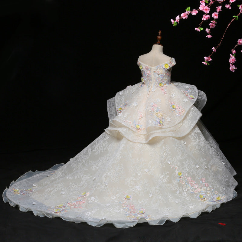 Flower Lace Girls Dress Evening Birthday Party t Children Party Dress Lace Girls Wedding Dress