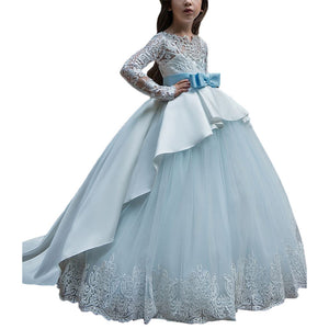 Flower Girl Dress for Kids Lace Chiffon Satin Asymmetrical Ball Gowns Tull Dress Long Sleeves Kids Trailing Gowns with Belts Evening Formal Party