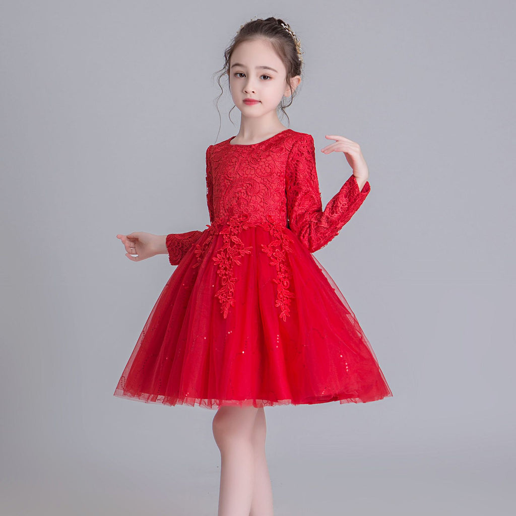 O-neck Flower Girl Dress for Kids Lace Appliques Ball Gowns Long Sleeves Knee Length Dresses