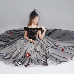 Flower Girl  Dresses Black Off-the-shoulder Girls Beaded Embroidery Applique Kids Evening Ball Gown