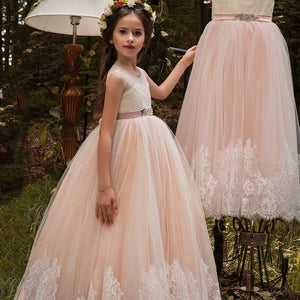 Flower Little  Girl Dresses Flower Lace Long Communion Dress Party Pageant Formal Puffy Dance Evening Gown For 2-12 Year Old