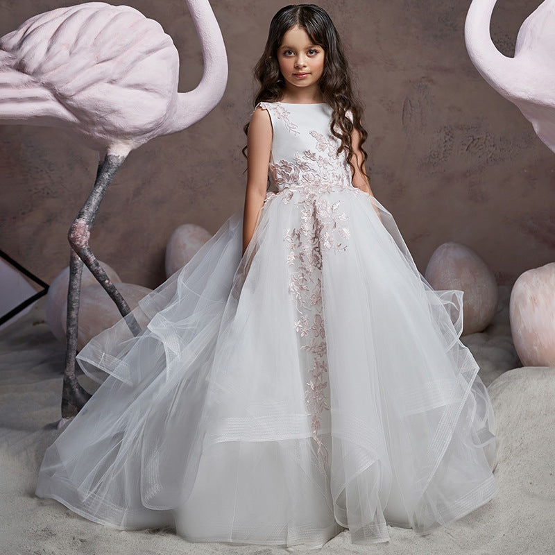 Long Puffy Flowers Girl Dresses Sleeveless Lace Flower Princess Pageant Floor Length Tulle Ball Gown for Kids