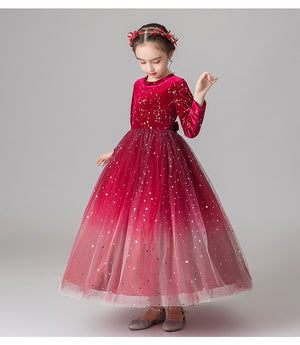 Flower Girl Dress  Sleeves Lace Top Tulle Skirt Girls Lace Party Dresses Formal Christmas Party For 2-12 Year old
