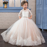 Lovely Flower Girl Dress Lace Embroidery Sheer Long Sleeves Kids Trailing Gowns Beaded Pageant Ball Gowns For 2-12 Year Old