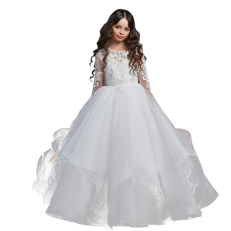 Flower girl dresses  Lace Princess Tulle Long Pageant Gown Floor Length Prom Evening Formal Party For 2-12 Year Old