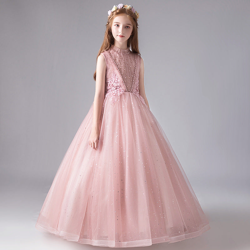 Princess Flower Girl Lace Tutu Long Ball Gown Evening Dress Fluffy Elegant Party New Costume Kids Dress