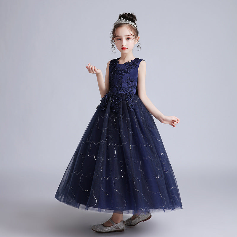 Flower Girl Dresses Fancy Kids Lace Beaded Pageant Ball Gown Floor Length Dresses Formal Party For 2-12 Year old