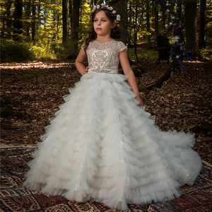Flower girl dresses Lace Long Princess Dresses Kids Formal Party Pageant Ball Gowns First Communion Puffy Tulle Dress  For 2-12 Year Old