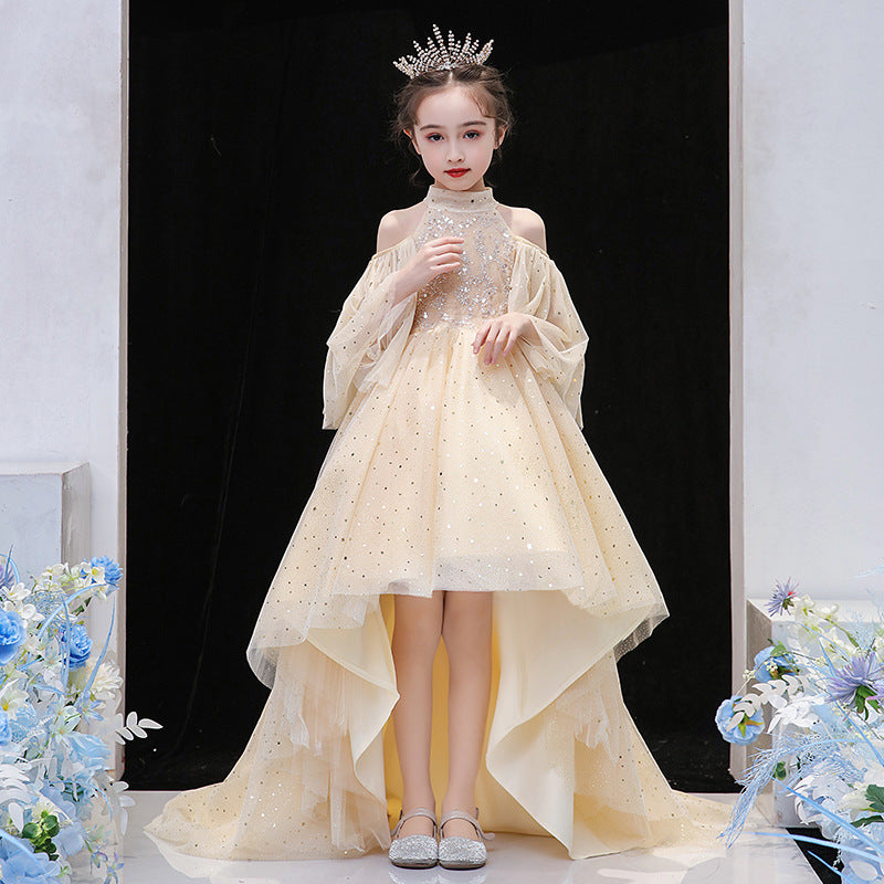 Flower Girls Champagne Beading Asymmetrical Off-the-shoulder Chiffon Dresses For Special Occasion
