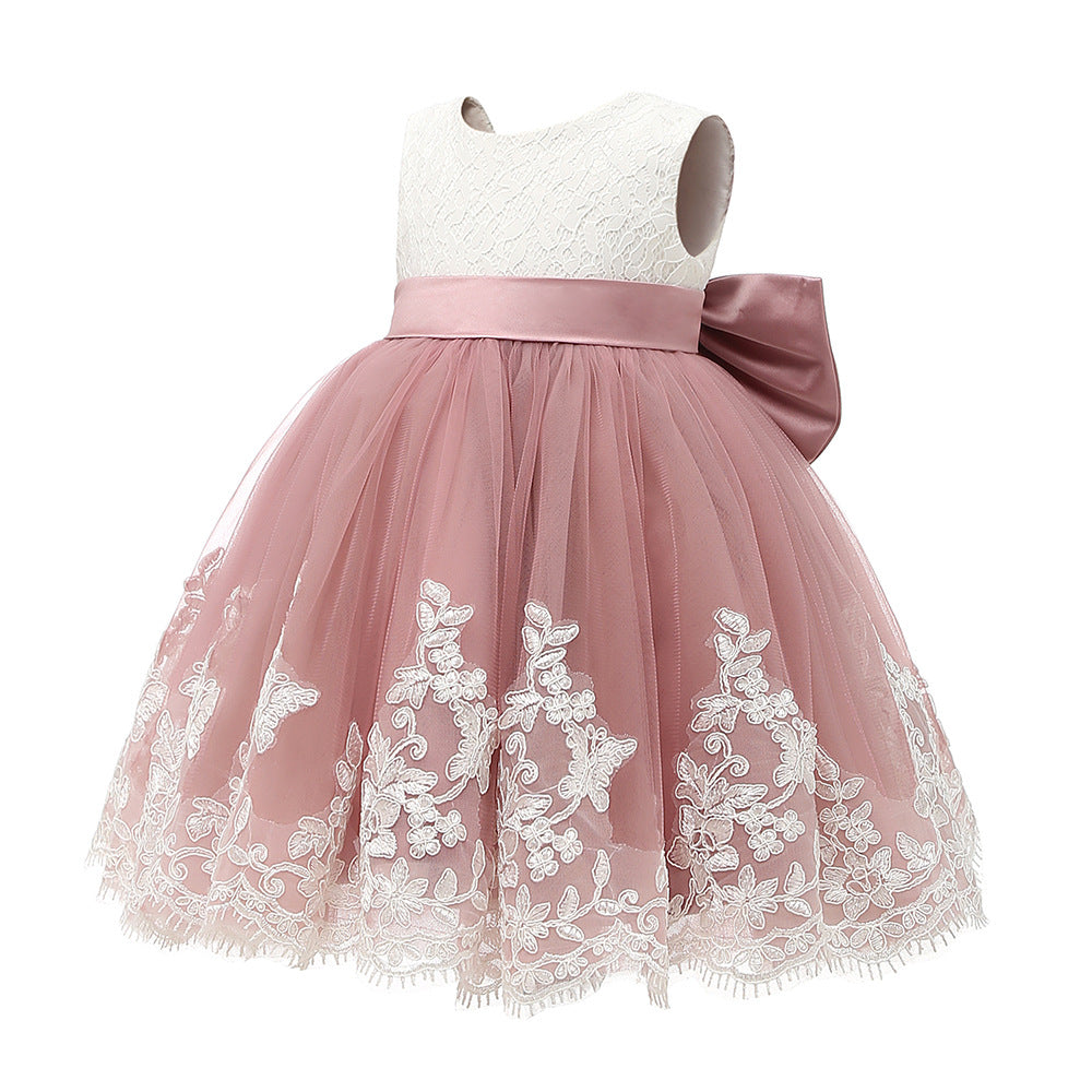 Flower Girl Dresses Pink Sleeveless Lace Cute Princess Pageant Dresses Kids Prom Ball Gown For 2-12 Year Old