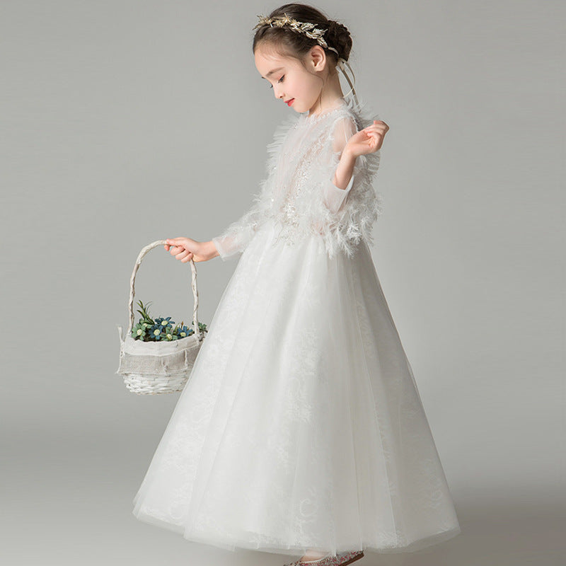 Flower Girl Dress Lace Banquet Dress Baby Kids Clothes White Wedding Children Clothing V Neckline Girl Applique Long Sleeve Dresses