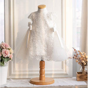 Children Kids Flower Girl Dresses Bow First Communion Dresses Children Appliques Lace Sleeveless Gown