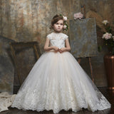 Flower Girl Lace Dress for Kids Pageant Party Prom Formal Ball Gown Princess Puffy Tulle Dresses Dance Evening Gown For 2-12 Year Old