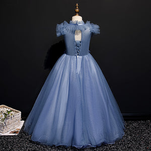 Elegant Blue Flower Girls Lace Dress Pageant Sequined Toddler Princess Tulle High Neck with Bow Dress For Children