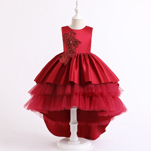 Fancy Flower Girl Dresses Satin  Tulle Lace Knee Length Scoop Neck Sequins Beading Multi-Large Skirt Dresses