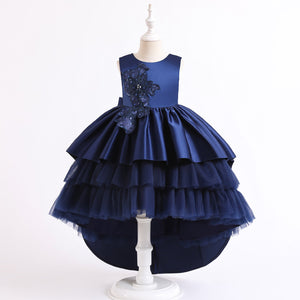 Fancy Flower Girl Dresses  Tulle Lace Ball Gown Floor Length Dresses Pageant For 2-12 Year old