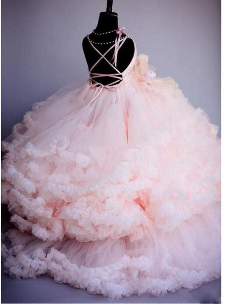 Flower Lace Pink Dress Girls Clothes Princess Party Pageant Long Gown Birthday Tulle Tutu Dresses
