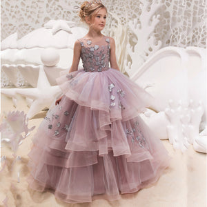 Flower Girl Dress Embroidered Classic Appliques Birthday Party Long Sleeveless Ball Gown