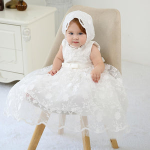 Baby Girls Lace Party Infant  Dresses Embroidered Christening Outfit for Girls with Cape Bonnet