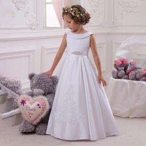 Flower Girl Lace Dress for Kids Pageant Party Prom Formal Ball Gown Princess Puffy Tulle Dresses for Girls 2-12 Year Old