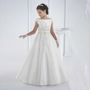 Flower Girl Satin Long Princess Magic Appliques White First Communion Baptism Dresses Pageant Floor Length Tulle Ball Gown