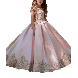 Flower girl dresses Girls Flower Lace Long Princess Dress Kids Pageant Party Puffy Tulle Ball Gowns  For 2-12 Year Old