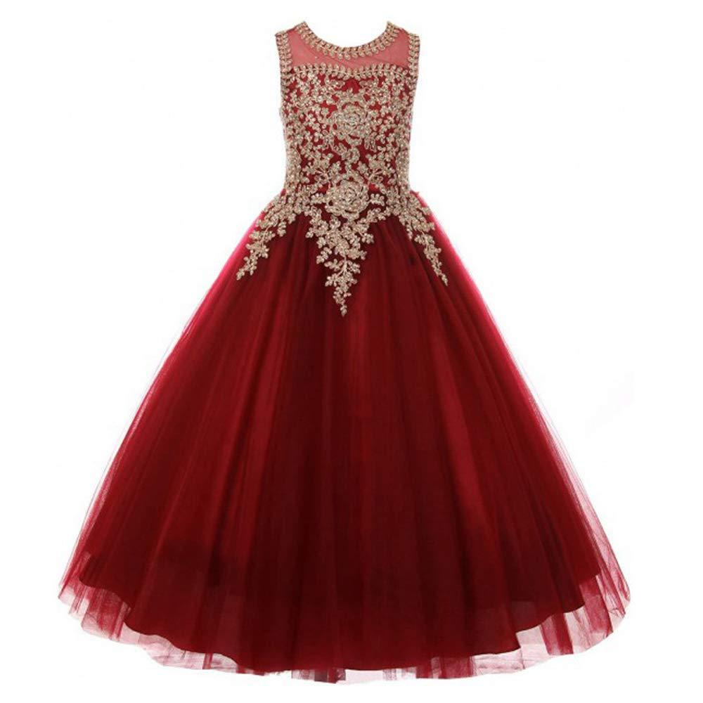 Flower Girl Dress Red Rosy Luxury Sequins Burgundy Ball Gown Pageant Sleeveless Dresses for Girls s Long Flower Puffy Tulle Prom Birthday Christmas Party