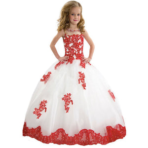 Flower Girl  Dresses Princess Lovely Flower Girl Dress Lace Embroidery Sheer Long Sleeves Kids Trailing Gowns Formal Party For 2-12 Year old