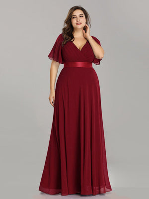 V-Neck Sheath/Column Short Sleeves Waistband Chiffon A-Line Floor Length Plus Size Dresses
