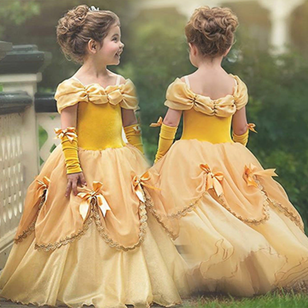 Flower Girl Dress Yellow Little Girl Dresses Lace Pageant Gown Floor Length Formal Party for 2-10 Years
