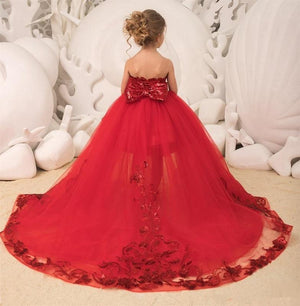 Flower Girls Dresses Red  Knee Length Princess  Pageant Appliques Asymmetrical  Back with bow Dress For Kids