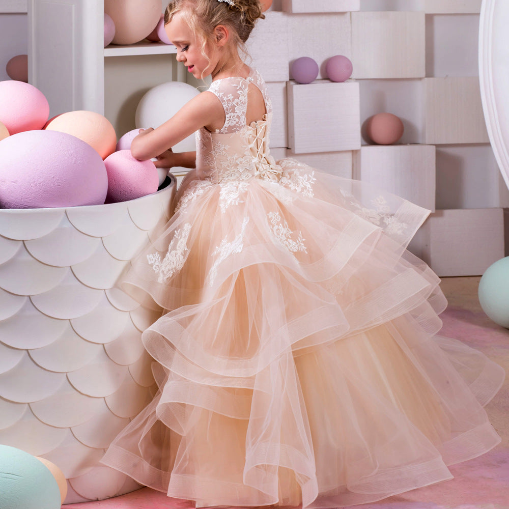 Flower girl dresses Fancy Flower Girls Pageant Dresses Embroidery Birthday Party Long Tail Prom Ball Gowns for Kids 2-12 Year Old