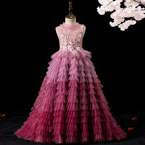 Colorful Flower Girl Dresses for Party High Neck Sleeveless Embroidered Floor Length Tulle Ball Princess Gown